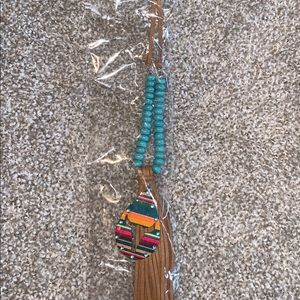 Teal serape teardrop necklace